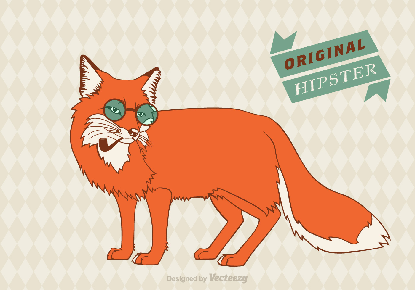 Free Hipster Fox Vector Background - 237.1KB