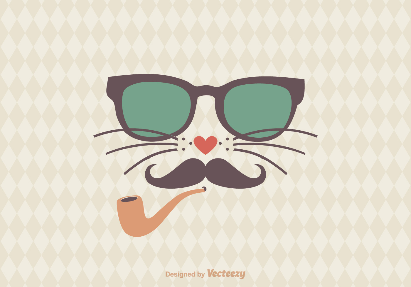 Free Hipster Cat Vector Illustration Download Free