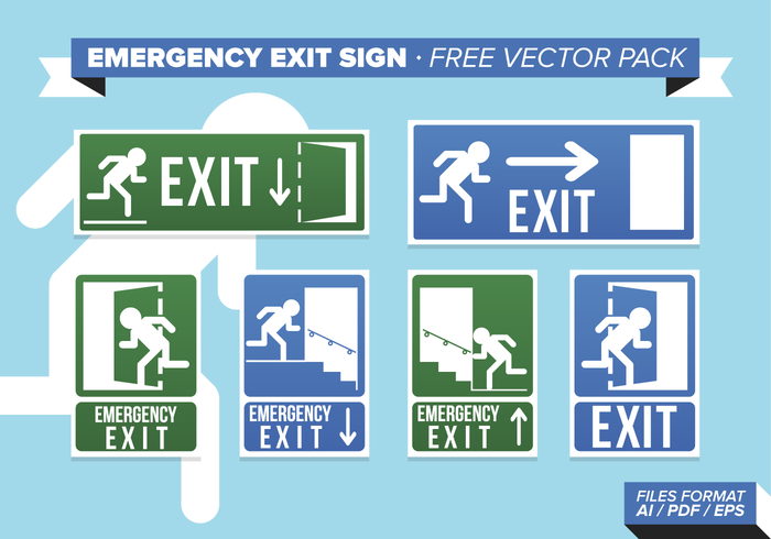 Emergency Exit Sign Free Vector Pack