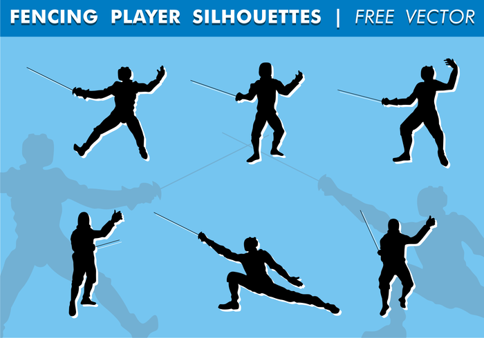 Fencing Player Silhouettes Free Vector