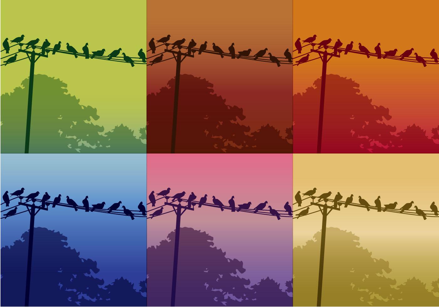 Birds On Telephone Lines - Download Free Vector Art, Stock ...