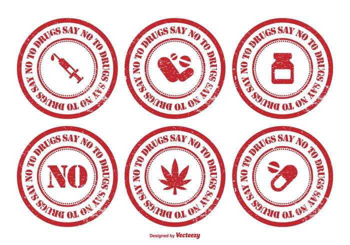 No To Drugs Rubber Stamp Set