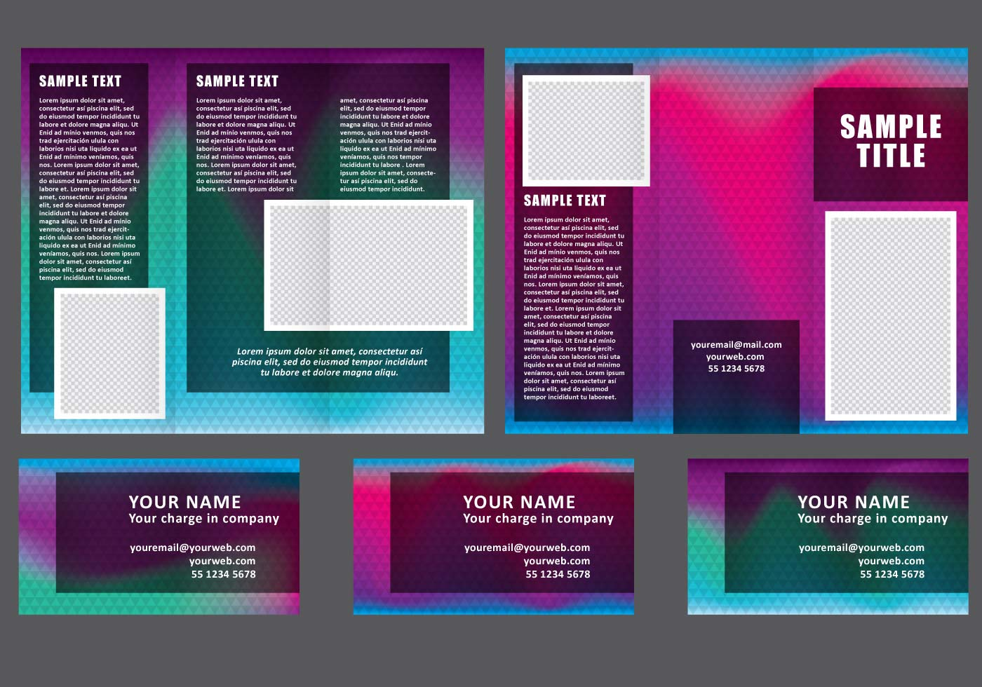 dark fold brochure vectors