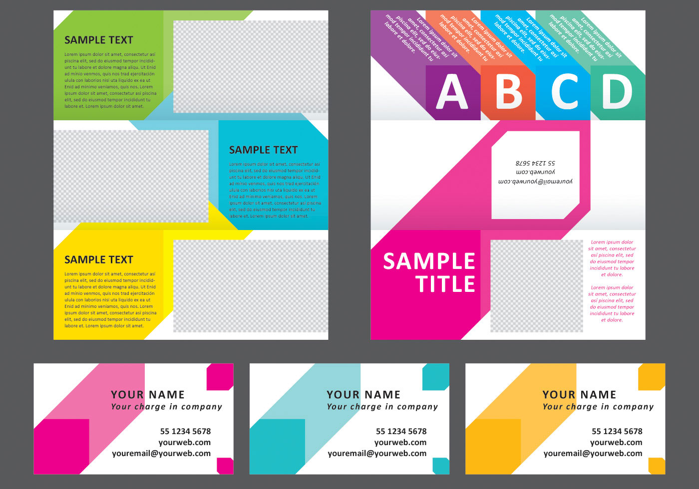 Colorful squares horizontal brochure download free for Horizontal brochure template
