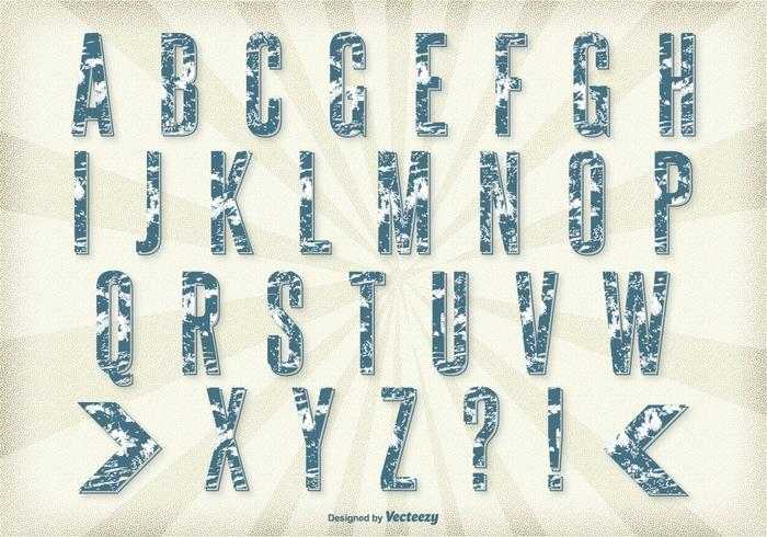 Conjunto retro do alfabeto do estilo grunge vetor