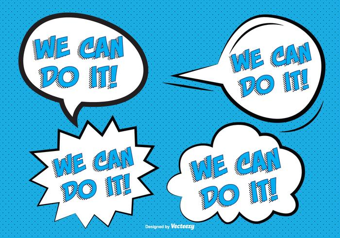 Comic Style '' We Can Do It'' Labels