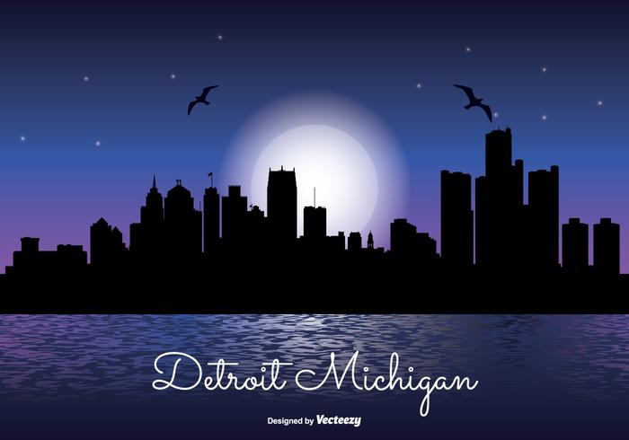 Detriot michigan night skyline illustration