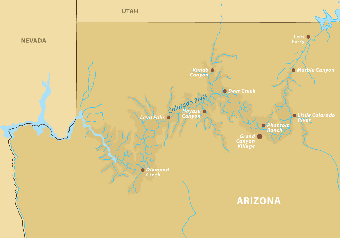 Us Physical Map Grand Canyon