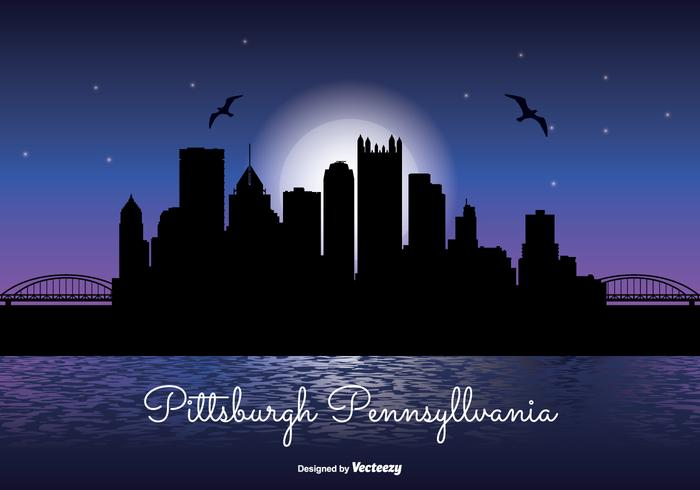 Pittsburgh Night Skyline Illustration