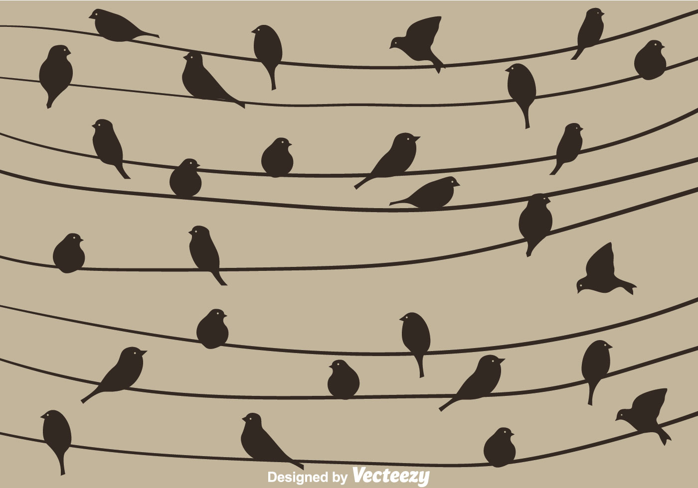 Bird Silhouette On A Wire Vector - Download Free Vector Art, Stock ...