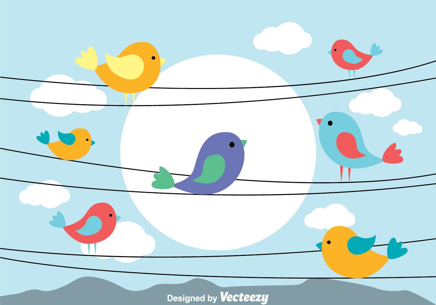 Birds Wire Vector
