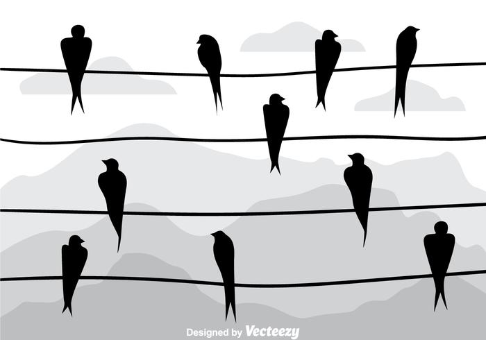 Swallow Silhouette On A Wire Vectors - Download Free Vector Art ...