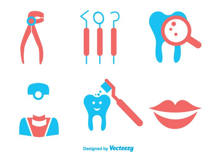 Teeth Care Duo Tones Colors Icons vector