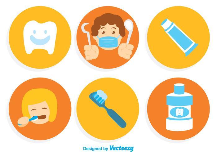 Ícones de desenhos animados de dentes de escovação