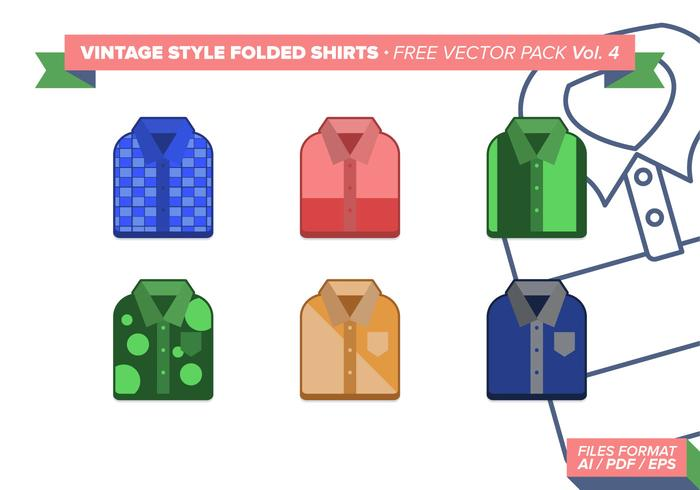 Vintage Folded Shirts Free Vector Pack Vol. 4
