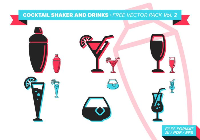 Cocktail Shaker En Dranken Gratis Vector Pack Vol. 2