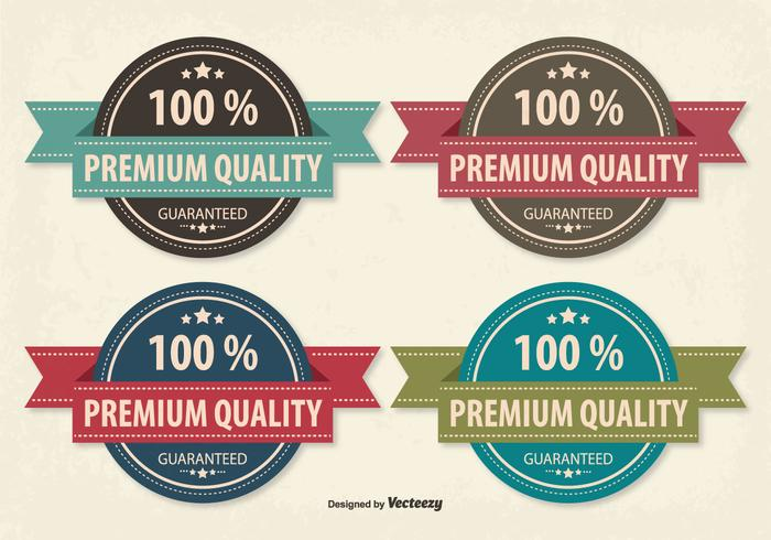 Retro estilo Premium calidad Badge Set vector