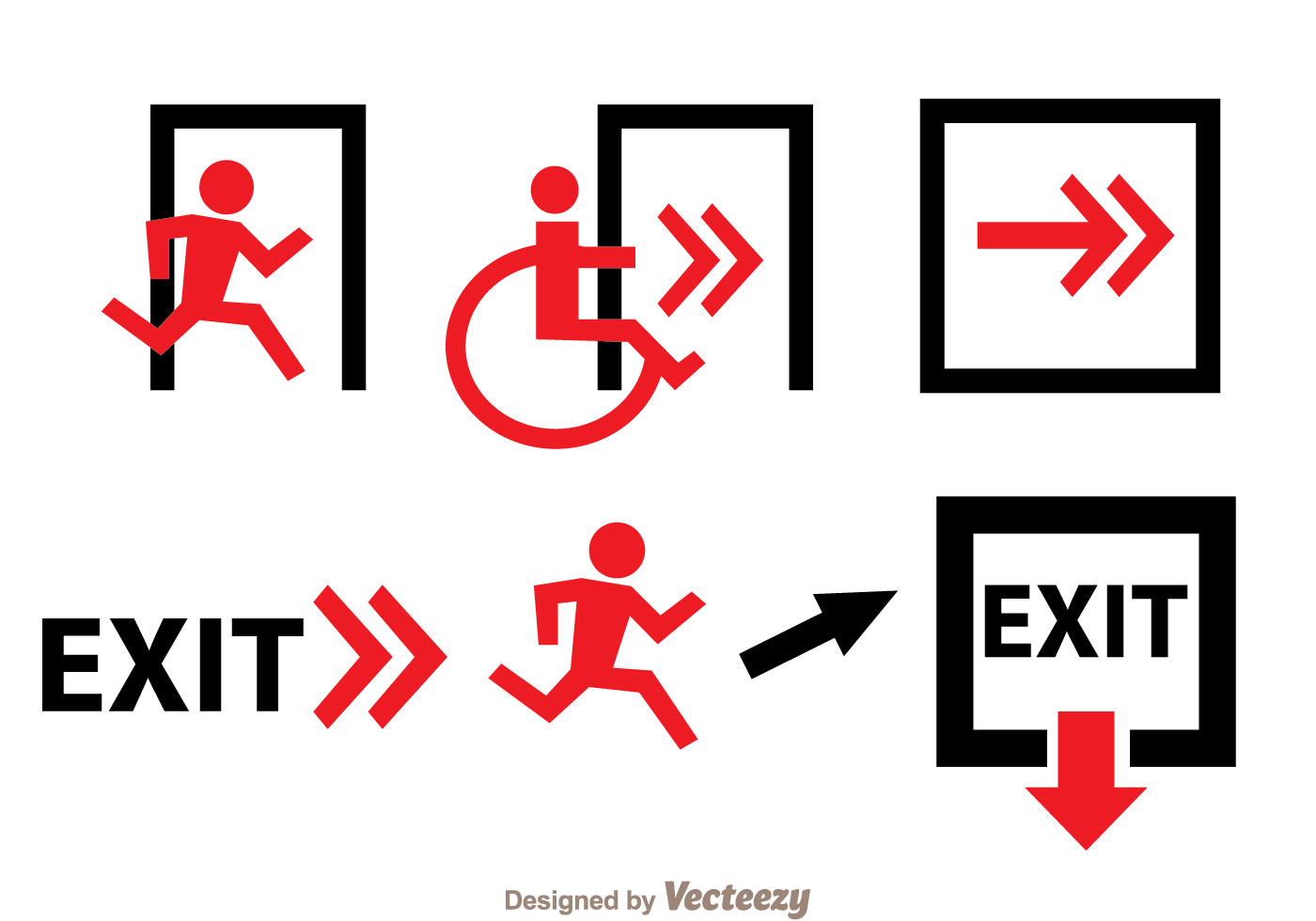 Emergency Exit Black And Red Sign