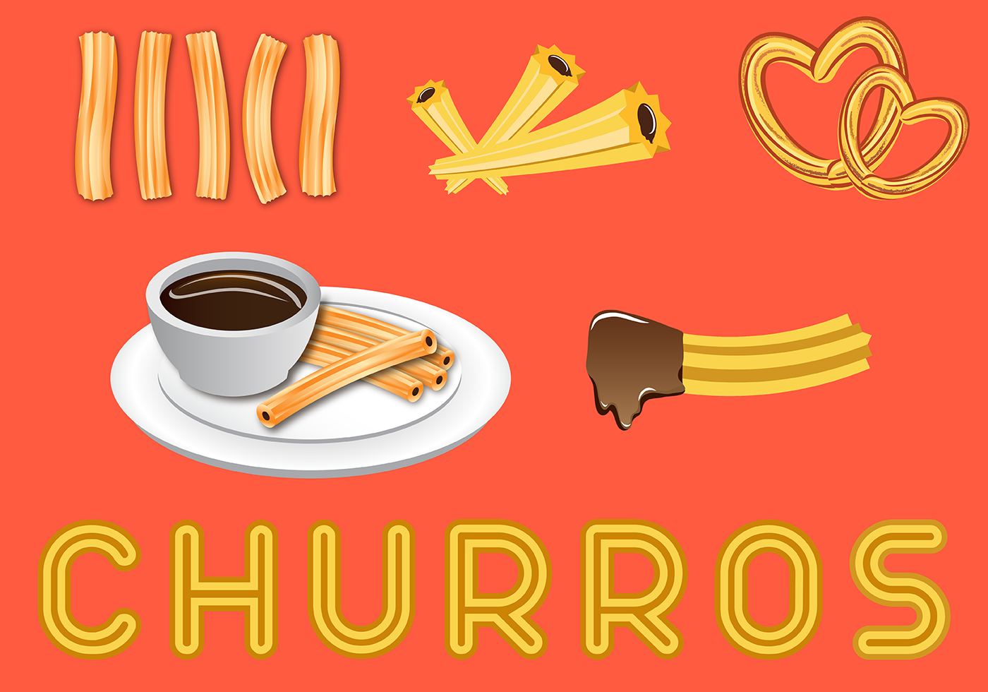 Free Delicious Churros Vector Download Free Vector Art