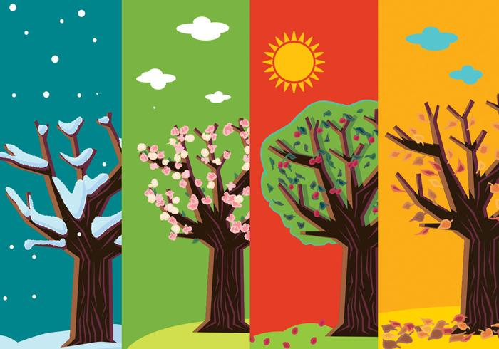 four seasons abstract trees download free vector art stock