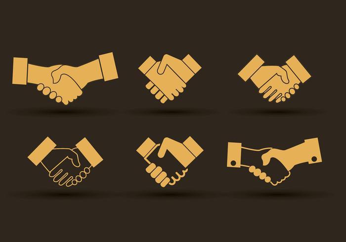 Set of hand shake icons design