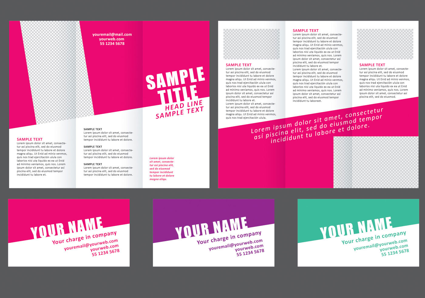 Minimal colorful fold brochure download free vector art for Colorful brochure