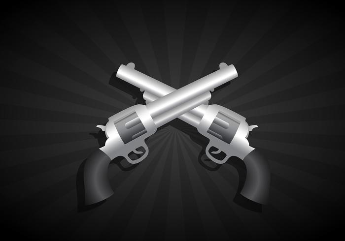 Two crossed guns vector