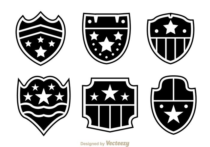 Shield Shape With Stars Icons vector