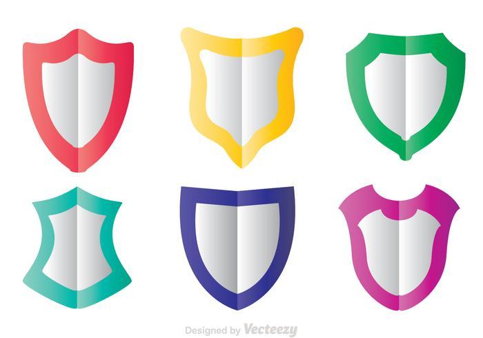 Icone piane di forma di scudo colorato