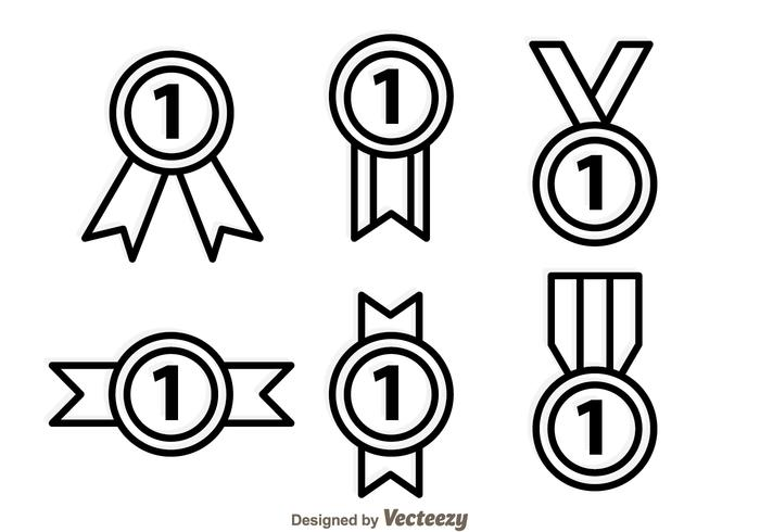 First Place Ribbon Outline Icons vector