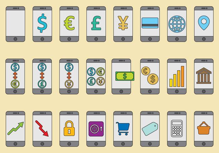 Vectores de servicio de banco móvil