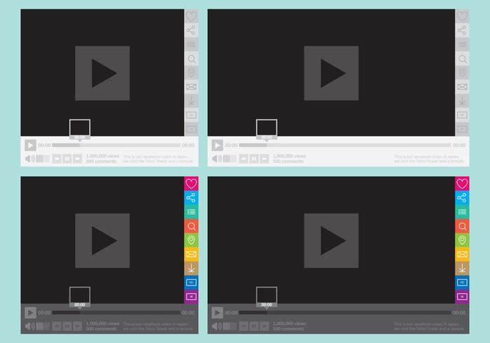 Media Player With Social Buttons vector