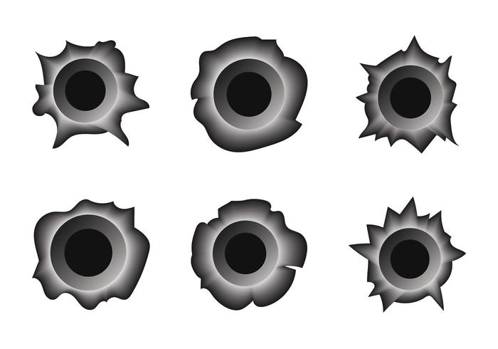 Gratis Bullet Hole Metal Vector Set