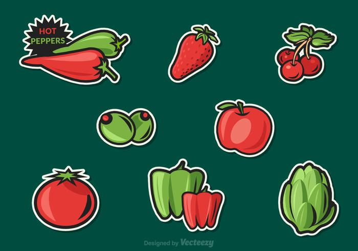 Free Fruit And Vegetables Vector Stickers