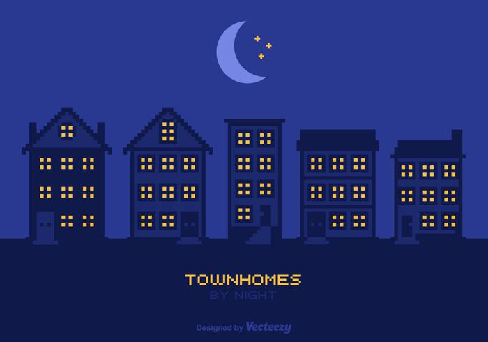 Free Townhomes By Night Vector