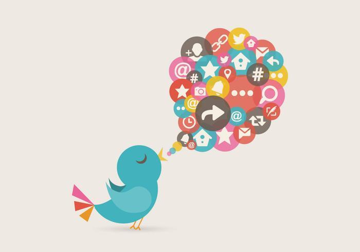 Free Twitter Vogel Nachricht Vektor