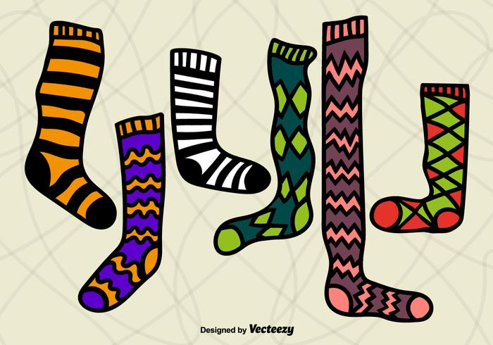 Hand drawn colorful stockings