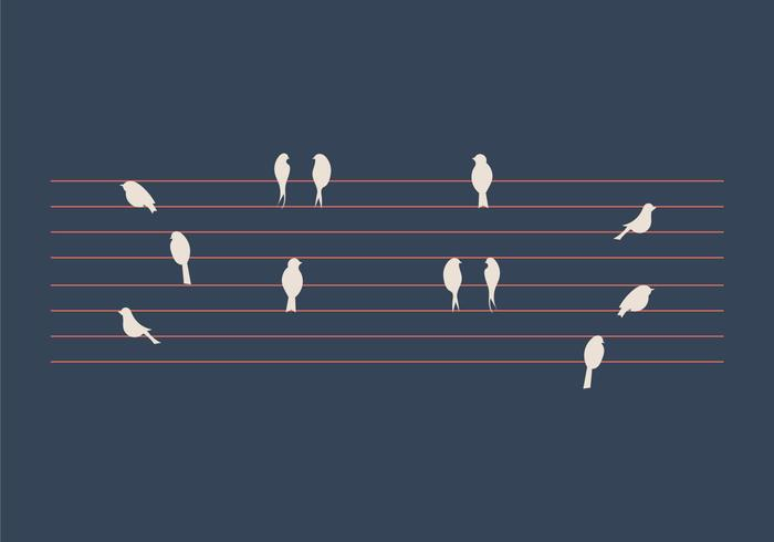 Free Birds on a Wire Vector Illustration