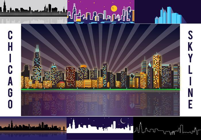 Free Chicago Skyline Night Vector