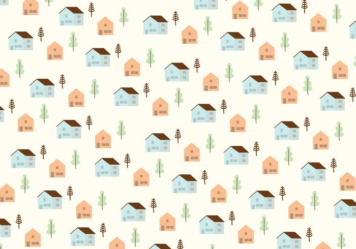 Houses and trees pattern background
