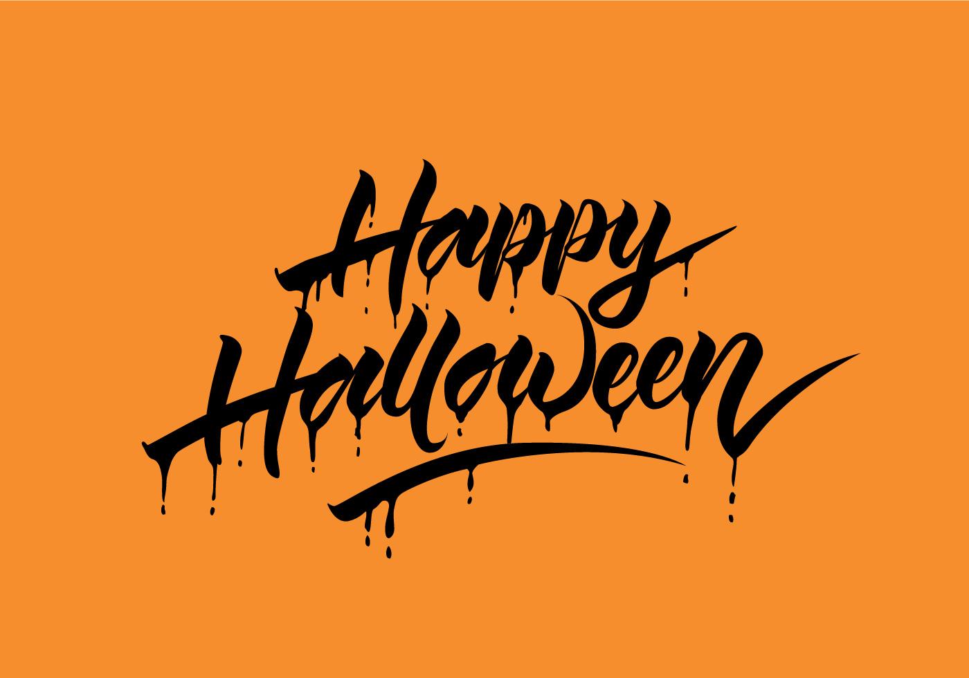 happy halloween vector calligraphy - download free vector art, stock
