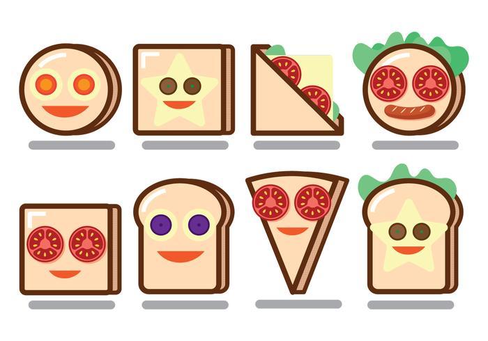 Vecteurs de visage Sandwich à pain drôle