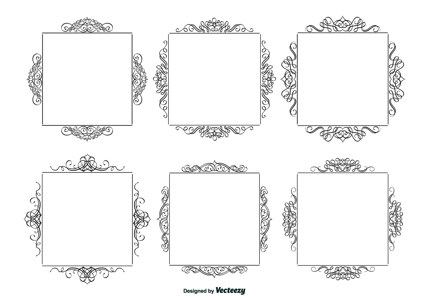 Decorative calligraphic frames set download free vector