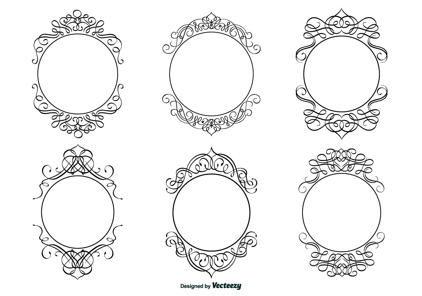 Decorative calligraphic frame set download free vector