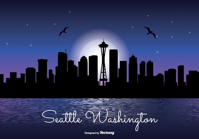 Seattle natt skyline illustration
