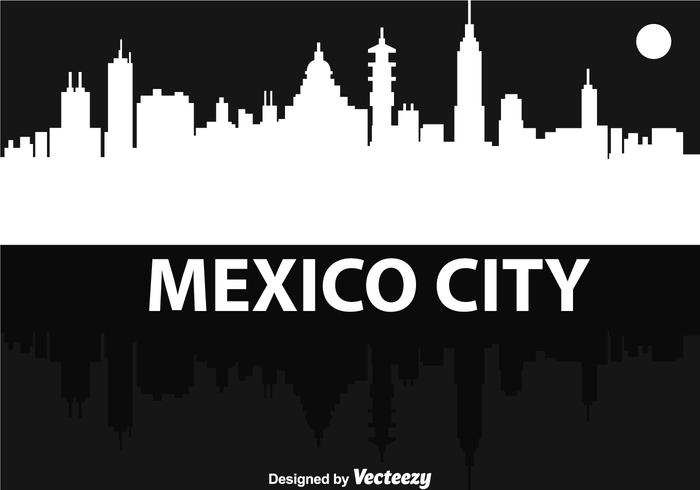 Mexico city silhouette natt