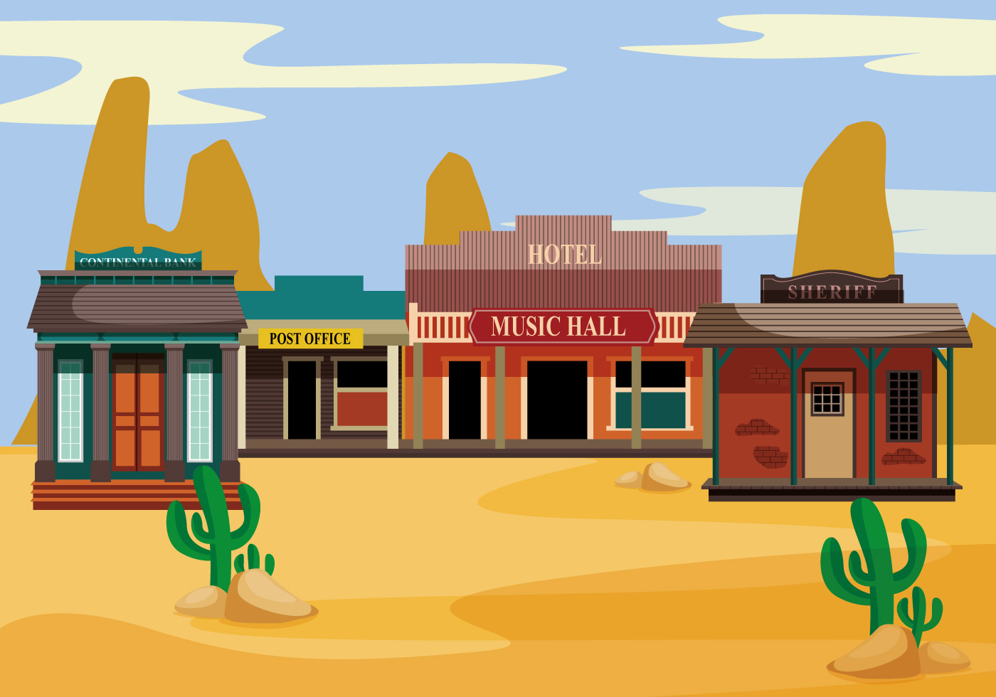 Office Layout Template Old Western Towns Vector Download Free Vector Art Stock