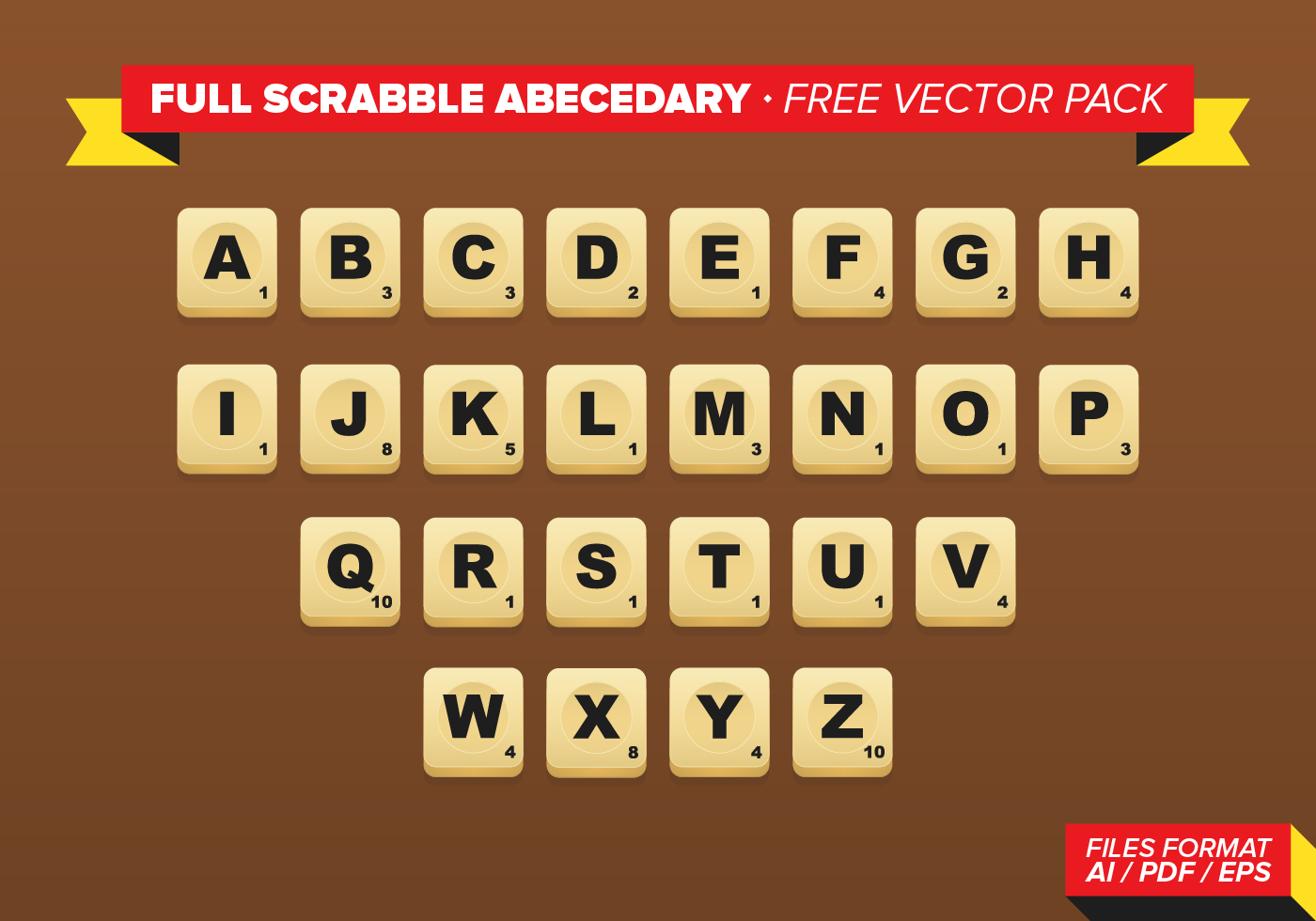 Full Scrabble Abecedary Free Vector Pack Download Free