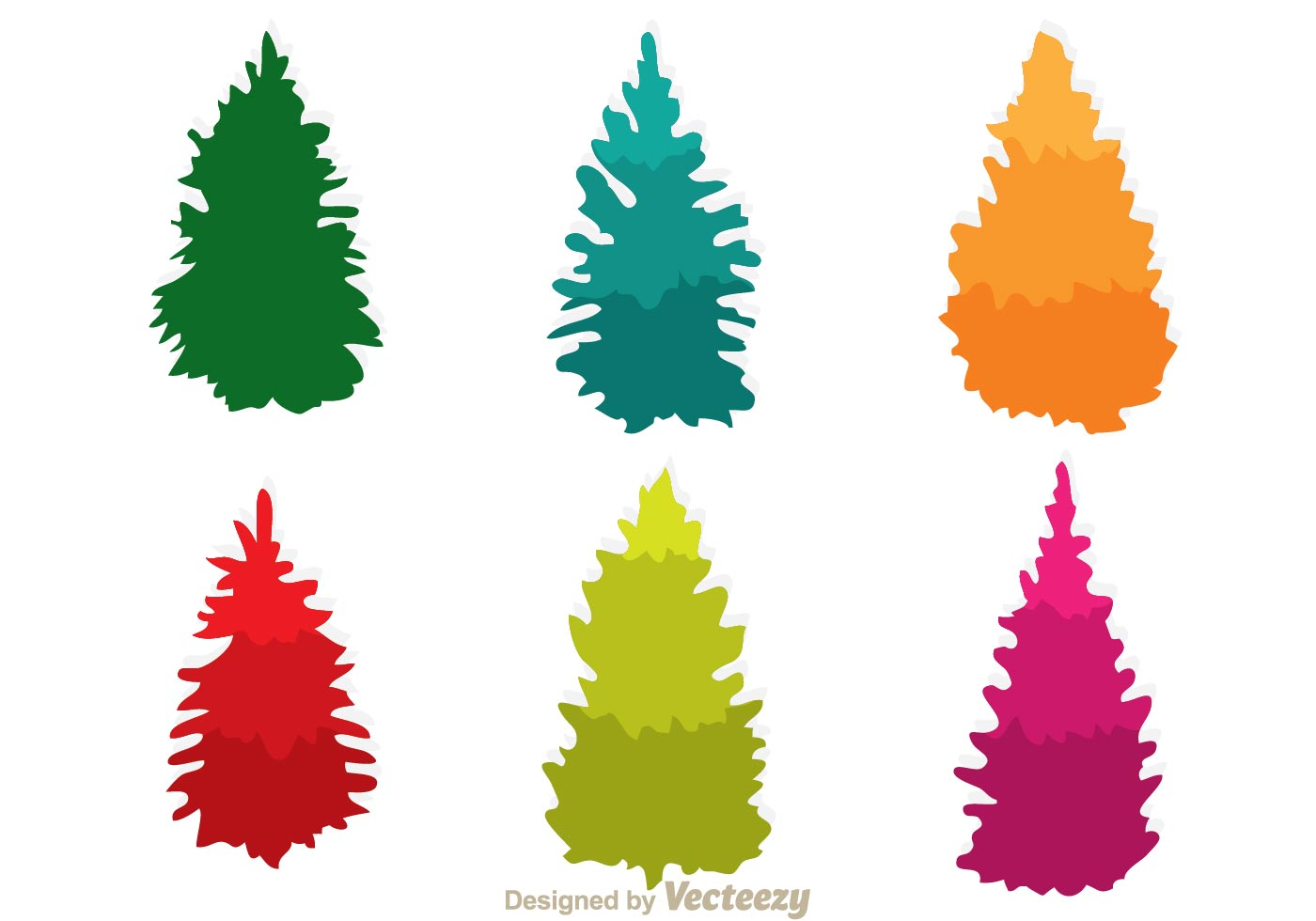 Colorful cedar trees icons download free vector art