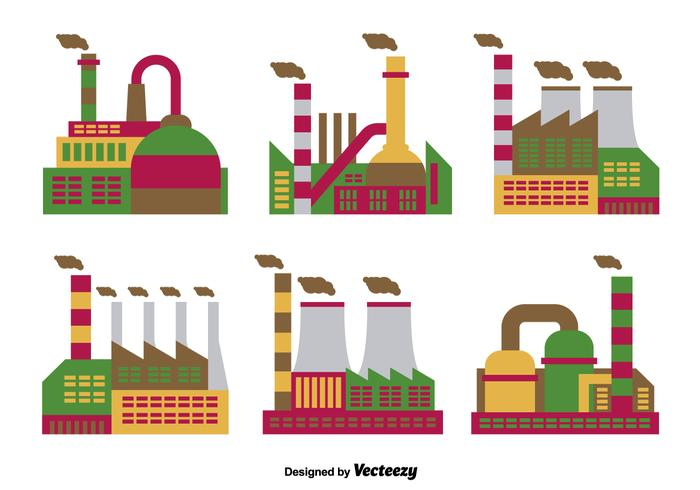 Factory flat icons vector